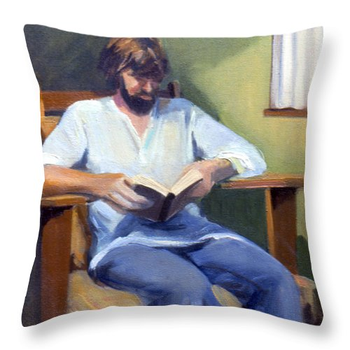 Potrait Throw Pillow featuring the painting Portrait Study 1984 by Nancy Griswold