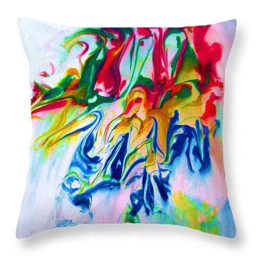 Abstract Throw Pillow featuring the painting Poses by Susan Carella
