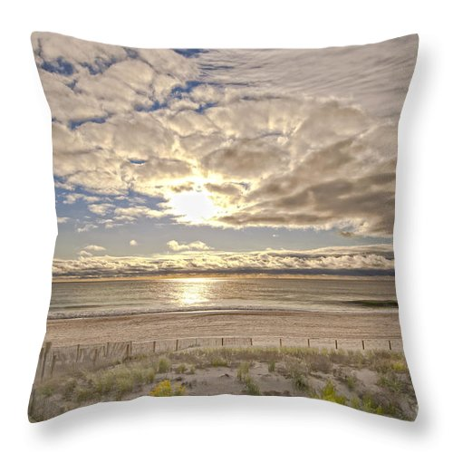 Beach Throw Pillow featuring the photograph Post-tourist Sunrise Ocean City by Jim Moore