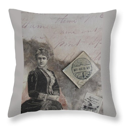 Collage Throw Pillow featuring the mixed media Postmark Budapest by Sandy McIntire
