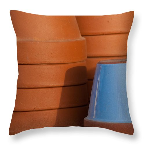 Abstract Throw Pillow featuring the photograph Pots In Sun by Sean Wray