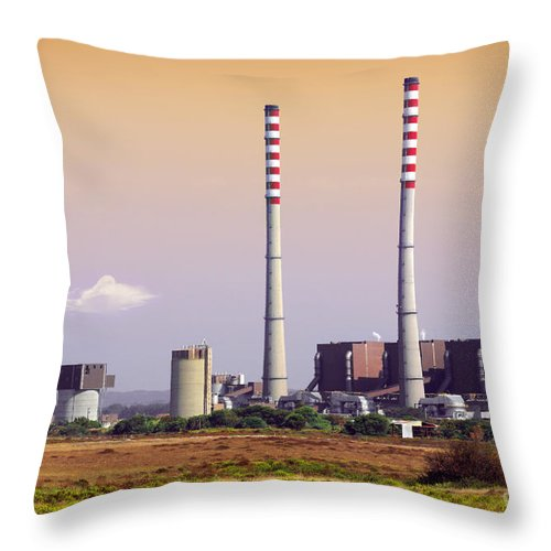 Building Throw Pillow featuring the photograph Power Plant by Carlos Caetano