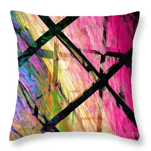 Abstract Throw Pillow featuring the digital art Powers That Bind Us Square B by Andee Design