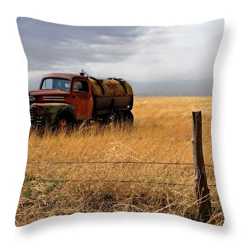Landscape Throw Pillow featuring the photograph Prarie Truck by Peter Tellone