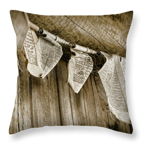 Prayer Flags Throw Pillow featuring the photograph Prayer Flags by Heather Applegate
