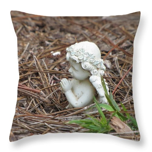 Statue Throw Pillow featuring the photograph Praying Angel by Michelle Powell