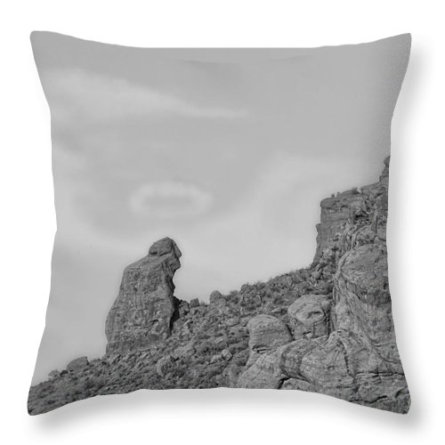 'praying Monk' Throw Pillow featuring the photograph Praying Monk With Halo Camelback Mountain Bw by James BO Insogna