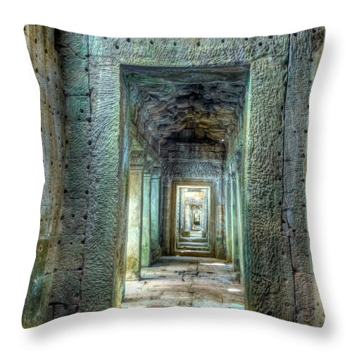 Preah Khan Throw Pillow featuring the photograph Preah Khan Gallery Interior by MotHaiBaPhoto Prints