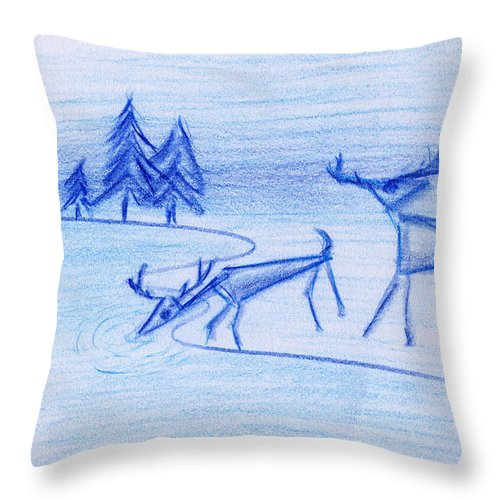 Animals Throw Pillow featuring the painting Prehistoric Scenic by John Bowers