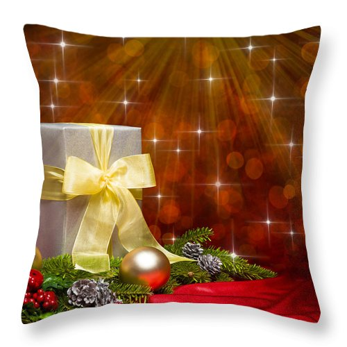 Advent Throw Pillow featuring the photograph Present Sock Shape Short Bread Cookie In Christmas Tree by U Schade