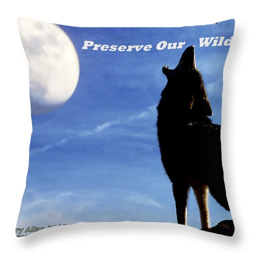 Coyote Throw Pillow featuring the photograph Preserve Our Wildlife by Larry Allan