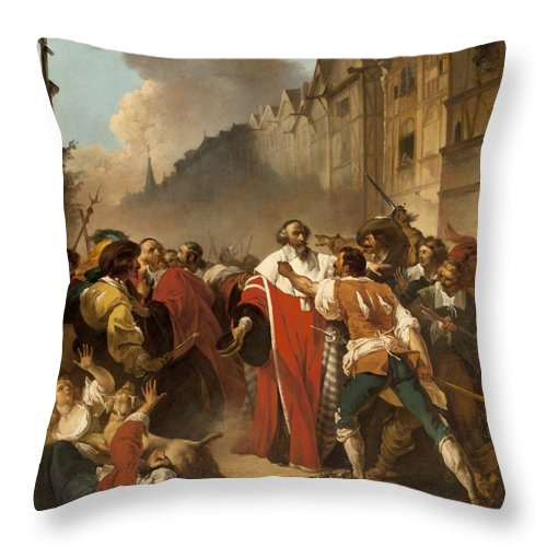 President Throw Pillow featuring the painting President Mole Manhandled By Insurgents by Francois Andre Vincent