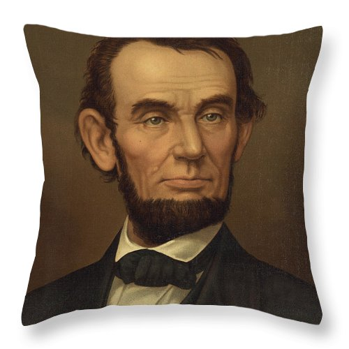 abraham Lincoln Throw Pillow featuring the photograph President Of The United States Of America - Abraham Lincoln by International Images