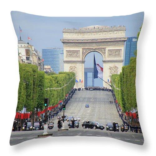 Sarkozy Throw Pillow featuring the photograph President Sarkozy by Andrew Fare