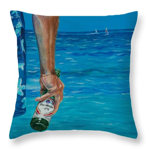 Presidente Beer Throw Pillow featuring the painting Presidente by Liz Zahara