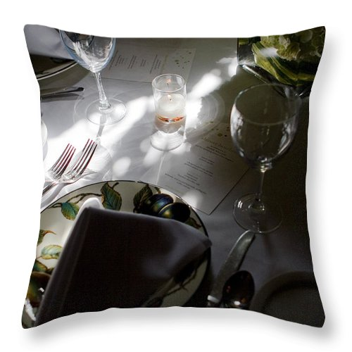 Place Setting Throw Pillow featuring the photograph Pretty Place Setting by Lorraine Devon Wilke