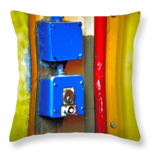 Blue Throw Pillow featuring the photograph Primary Parts by Gwyn Newcombe