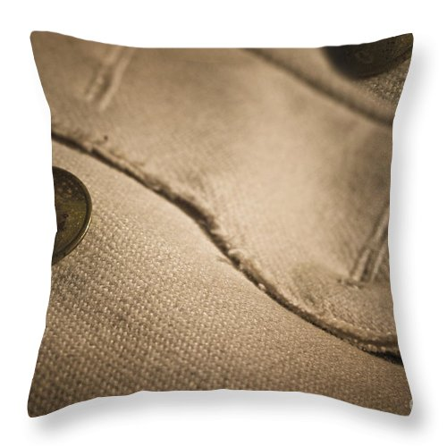 Fort St. Jean Baptiste Throw Pillow featuring the photograph Primitve Fashion by Kim Henderson