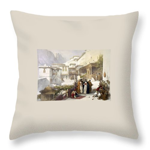 St. Catherine Throw Pillow featuring the photograph Principal Court Of The Convent Of St. Catherine by Munir Alawi