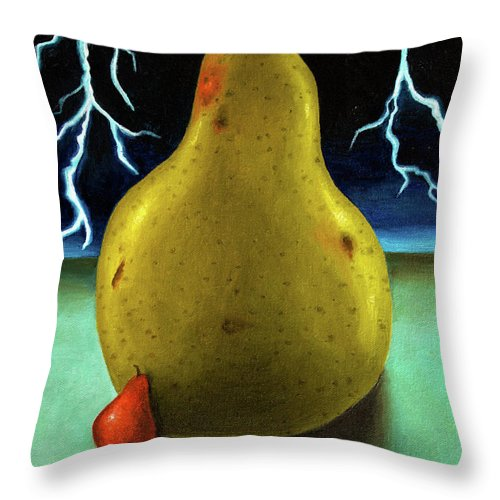 Pear Throw Pillow featuring the painting Protecting Baby 9 The Lightening Storm by Leah Saulnier The Painting Maniac