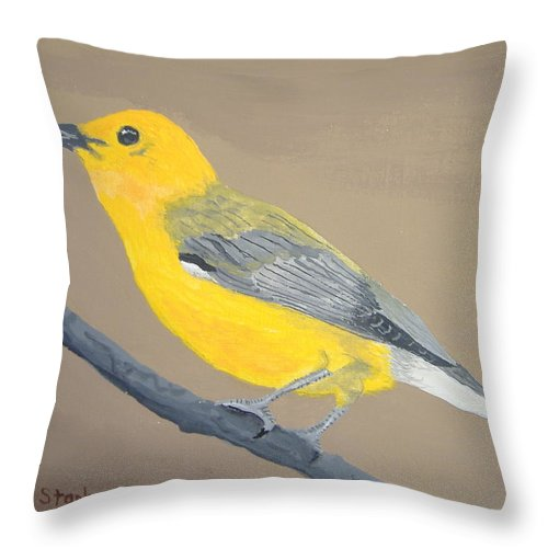 Songbird Throw Pillow featuring the painting Prothonotary Warbler by Norm Starks