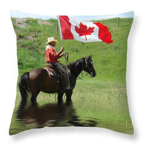 Al Bourassa Throw Pillow featuring the photograph Proudly Carrying The Flag by Al Bourassa