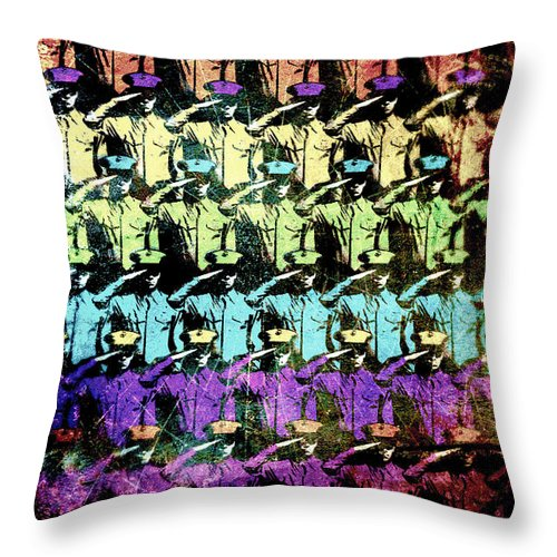 Soldiers Throw Pillow featuring the digital art Proudly Marching by Russell Clenney