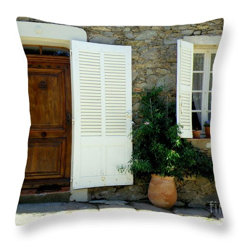 Doors And Windows Throw Pillow featuring the photograph Provence Door Number 4 by Lainie Wrightson