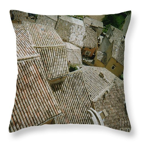 Rooftops Throw Pillow featuring the photograph Provence Rooftops by Pamela Canzano