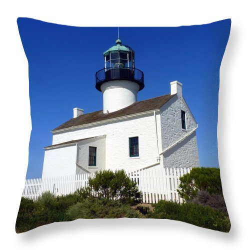 Light Throw Pillow featuring the photograph Pt. Loma Lighthouse by Carla Parris