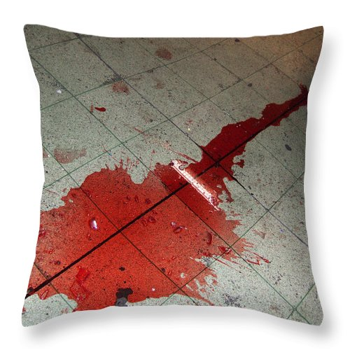 Wine Throw Pillow featuring the photograph Puddle Of Red Wine On The Floor by Matthias Hauser
