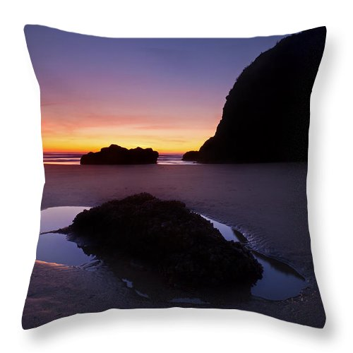 Cannon Beach Throw Pillow featuring the photograph Puddles And Stones by Mike Dawson