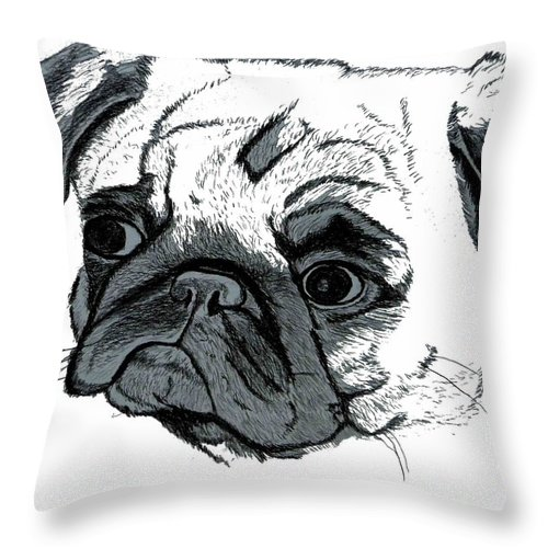 Pug Throw Pillow featuring the digital art Pugsly by Patricia Barmatz
