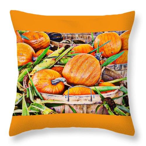 Pumpkin Throw Pillow featuring the photograph Pumpkin And Corn Combo by Ms Judi