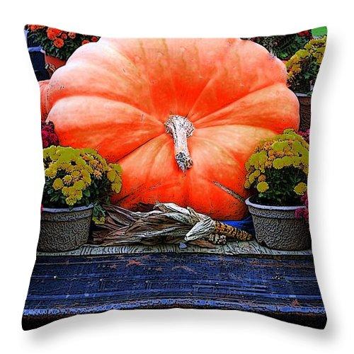 Pumpkin Throw Pillow featuring the photograph Pumpkin And Flowers by Kathleen Struckle