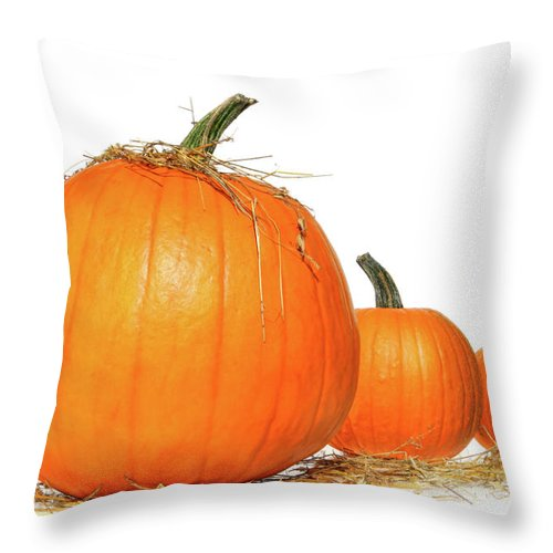 Agriculture Throw Pillow featuring the photograph Pumpkins With Straw On White by Sandra Cunningham