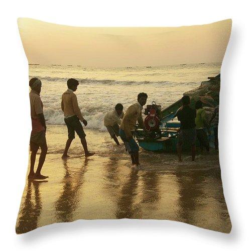 Valerie Rosen Throw Pillow featuring the photograph Puri Fishermen by Valerie Rosen