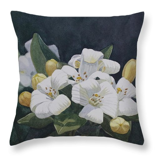 Jan Lawnikanis Throw Pillow featuring the painting Purity by Jan Lawnikanis