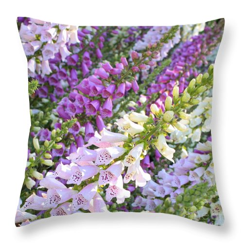Purple Throw Pillow featuring the photograph Purple And White Foxglove Square by Carol Groenen