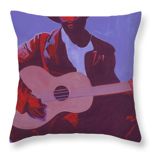 Purple Blues Throw Pillow featuring the painting Purple Blues by Kaaria Mucherera