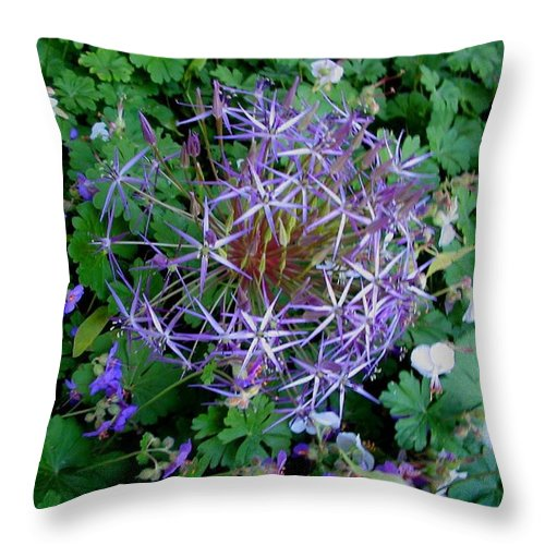 Landscapes Throw Pillow featuring the photograph Purple Flower Sphere by April Patterson