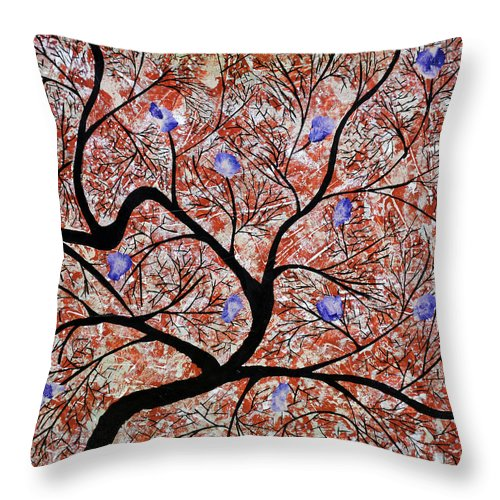 Throw Pillow featuring the painting Purple Flowered Tree by Sumit Mehndiratta