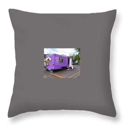 Purple Throw Pillow featuring the photograph Purple Food Truck by Kym Backland