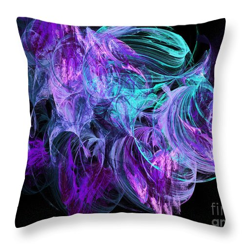 Fine Art Throw Pillow featuring the digital art Purple Fusion by Andee Design