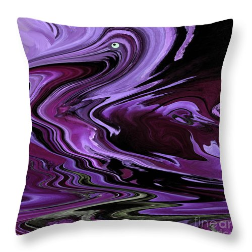 Purple Throw Pillow featuring the digital art Purple Pelican by Ketti Peeva