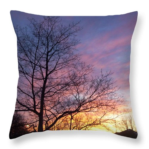 Sunset Throw Pillow featuring the photograph Purple Sunset by Corinne Elizabeth Cowherd