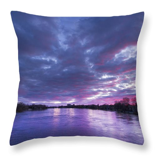 Purple Throw Pillow featuring the photograph Purple Sunset by Mircea Costina Photography