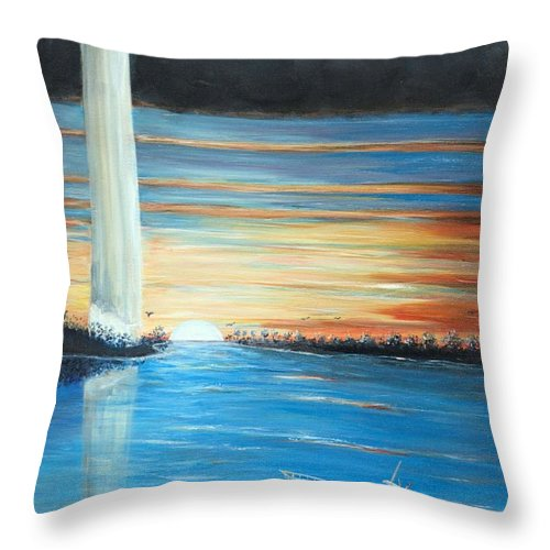 Put-in-bay Perry's Monument Throw Pillow featuring the painting Put-in-bay Perry's Monument - International Peace Memorial by Bernadette Krupa