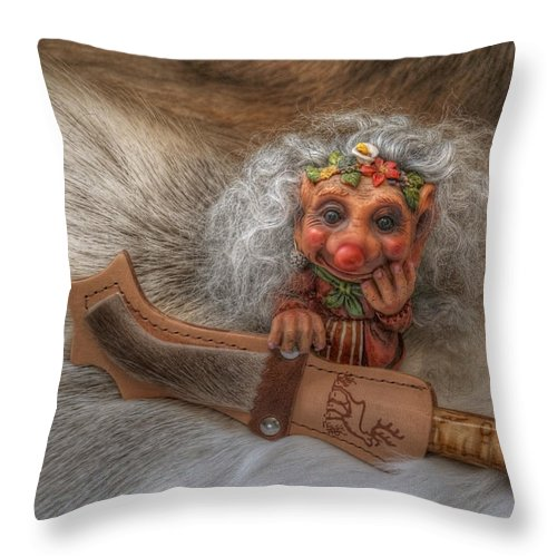Troll Throw Pillow featuring the photograph Puukko Troll by Merja Waters