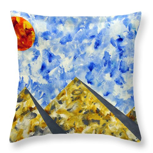 Throw Pillow featuring the painting Pyramidscape by Sumit Mehndiratta